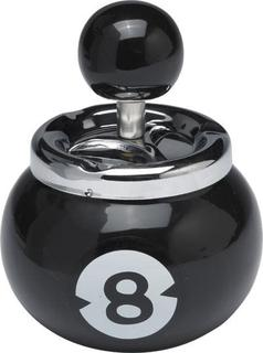 Spinning Ashtray Chrome (Medium-Round-8-Ball-Shape) Glossy Black Anodised Base