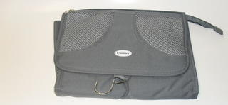 Hanging Toilet Bag With Mesh & Hook (Grey)