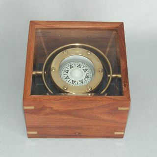 Brass Replica Gimballed Compass in a Box (110mm Square)