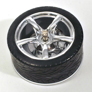 Spinning Ashtray - Chrome with Black Tyre (8cm Diameter)