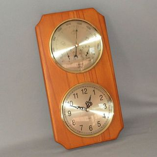 Barometer/Hygrometer/Thermometer and Clock (Rimu Stain)