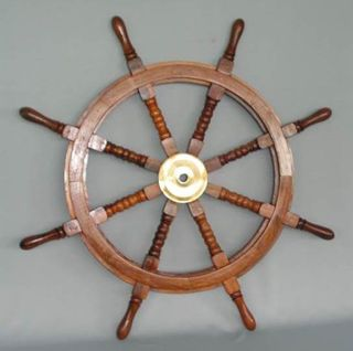 Wooden Ships Wheel with Brass Centre
