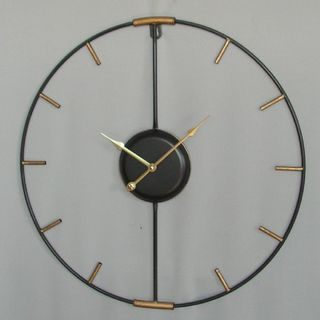 Metal Silhouette Clock - Black and Gold - 60cm