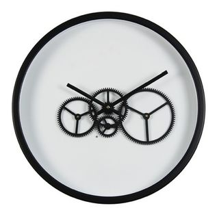 Wall Clock Moving Gears Black on White Background (46 cm Diameter)