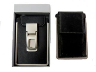 Card Holder Black Leather with Belt Clip