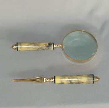 Brass Magnifier and Paper Knife Set (Marble Look Finish)